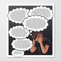 anxiety Canvas Prints featuring Anxiety by AdamSteve
