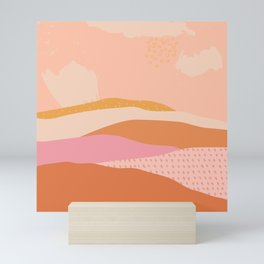 Pink Abstract Mountains - Landscape Mini Art Print