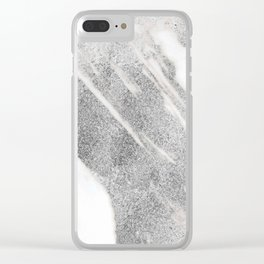 Marble - Silver Glitter on White Metallic Marble Pattern Clear iPhone Case