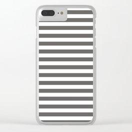 Pantone Pewter Gray & White Uniform Stripes Fat Horizontal Line Pattern Clear iPhone Case