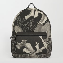 Orchid Flowers Black and White Vintage Print Backpack