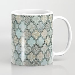 Old Moroccan Tiles Pattern Teal Beige Distressed Style Coffee Mug