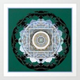 Deep Teal Tibetan Healing Mandala Hybrid Spanish Boho Stamp Art Print