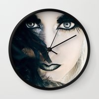 yin yang Wall Clocks featuring Yin&Yang by María Lawliet