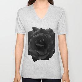 Black Rose on White - Single Large High Resolution Unisex V-Neck