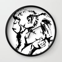 ape Wall Clocks featuring Ape by Kathryn Burton