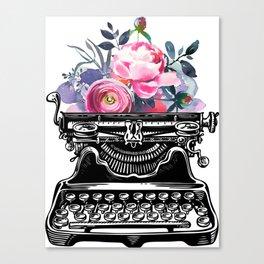 Vintage typewriter, watercolor flowers, flowers, watercolor, writer gift, writer, type, typewriter Canvas Print