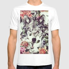 Floral Wolf White MEDIUM Mens Fitted Tee