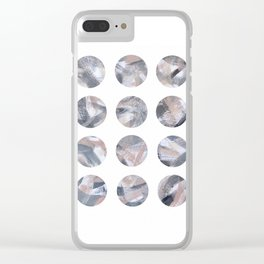 Pink and Gray Dots Clear iPhone Case