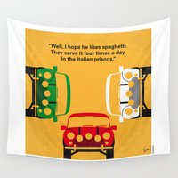 returns Wall Tapestries featuring No279 My The Italian Job minimal movie poster by Chungkong