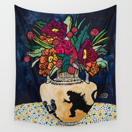 Godzilla Greek Urn with Peony Bouquet Winter Floral Still Life Painting Wall Tapestry