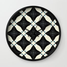 Clifton black and pearl sand geo floral weave Wall Clock