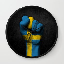 Swedish Flag on a Raised Clenched Fist Wall Clock