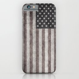 US flag in desaturated grunge iPhone Case
