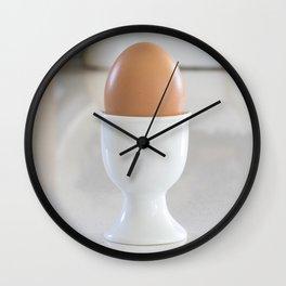 Boiled egg in white. Wall Clock