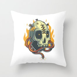 Skull Fire Throw Pillow
