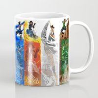 the legend of korra Mugs featuring Legend of Korra Elements by paulovicente