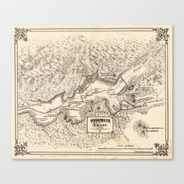 Vintage Map of Yosemite Valley (1879) Canvas Print