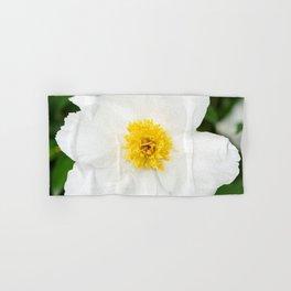 White Krinkled Peony Flower Hand & Bath Towel