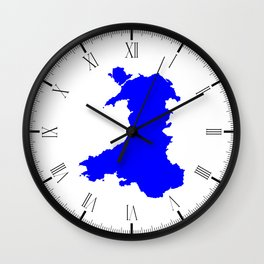 Silhouette Map Of Wales Wall Clock