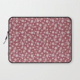 Christmas Rose Velvet Snow Flakes Laptop Sleeve