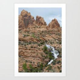 Waterfall by Ken's Lake Moab Art Print