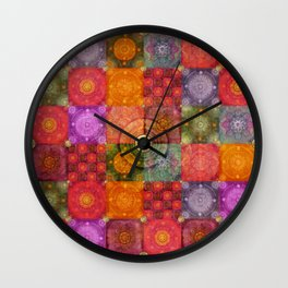 """Colorful Mosaic Pattern & Gold Metal Texture"" Wall Clock"