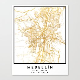 MEDELLÍN COLOMBIA CITY STREET MAP ART Canvas Print