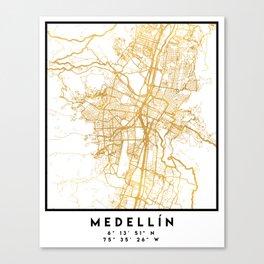 MEDELLÍN COLOMBIA CITY STREET MAP ART Canvas Print
