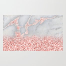 Sparkly Pink Rose Gold Glitter Ombre Bohemian Marble Rug