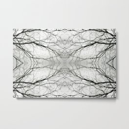 Abstract Bokeh Branches - Black & White Mood Metal Print