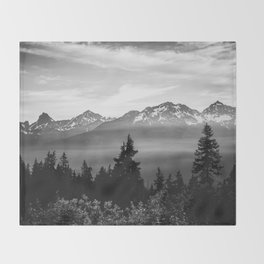 Morning in the Mountains Black and White Throw Blanket
