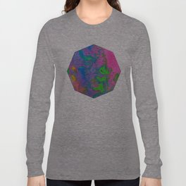 Marbling, Tie Dye Effect Abstract Pattern Long Sleeve T-shirt