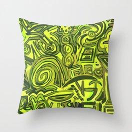 Green symbols Throw Pillow
