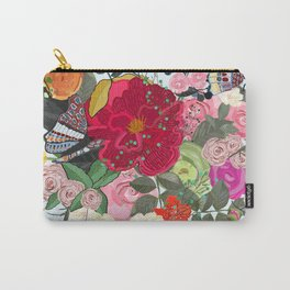 Spring Time Colorful Vibrant Colored Artistic Flowers Bouquet With Butterfly and Dragonfly Pattern Carry-All Pouch