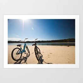 2 bicycles on beach Art Print