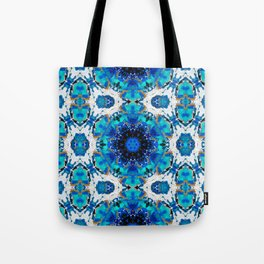 Ripples (Blue, White, Black & Gold Acrylic - 60° Kaleidoscope Pattern Small) Tote Bag