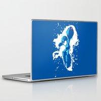 mega man Laptop & iPad Skins featuring Mega Man Splattery Design by The Daily Robot