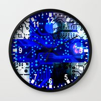 finland Wall Clocks featuring circuit board Finland by seb mcnulty