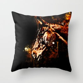 horse splatter watercolor Throw Pillow