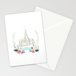 LDS Payson Temple Watercolor painting with flower wreath  Stationery Cards