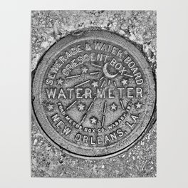 New Orleans Water Meter Louisiana Crescent City NOLA Water Board Metalwork Grey Silver Poster