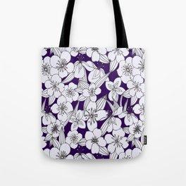 Hand painted modern black white indigo floral pattern Tote Bag