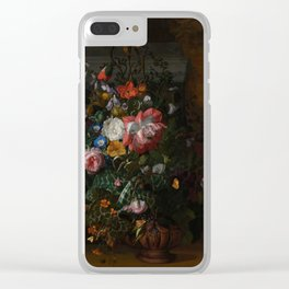 Rachel Ruysch - Roses, Convolvulus, Poppies and other flowers in an Urn on a Stone Ledge (1680) Clear iPhone Case