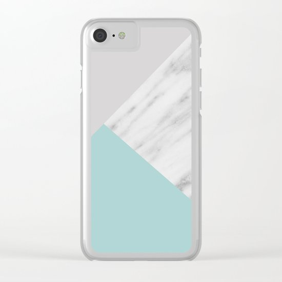 Ice Color Marble Collage Clear iPhone Case