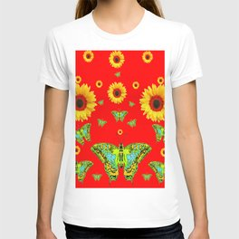RED COLOR YELLOW SUNFLOWERS GREEN MOTHS T-shirt