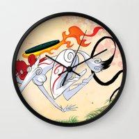 okami Wall Clocks featuring VIDEO GIRLS: Okami by Marques Cannon