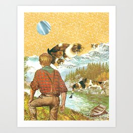 Don't Go Into the Water handcut collage Art Print