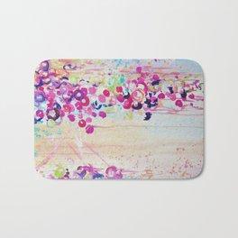 DANCE OF THE SAKURA - Lovely Floral Abstract Japanese Cherry Blossoms Painting, Feminine Peach Blue  Bath Mat