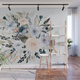 Loose Blue and Peach Floral Watercolor Bouquet  Wall Mural